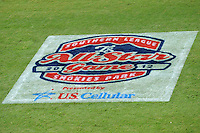 All-Star Logo on the field during the Southern League All-Star Game  at Smokies Park on June 19, 2012 in Kodak, Tennessee.  The South Division defeated the North Division 6-2. (Tony Farlow/Four Seam Images).
