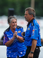 Jun 6, 2016; Epping , NH, USA; NHRA funny car sponsor Terry Chandler (left) reacts alongside crew chief Kurt Elliott during the New England Nationals at New England Dragway. Mandatory Credit: Mark J. Rebilas-USA TODAY Sports