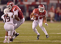 STAFF PHOTO BEN GOFF  @NWABenGoff -- 09/20/14 <br /> Arkansas wide receiver Jared Collins carries the ball during the fourth quarter of the game against Northern Illinois in Reynolds Razorback Stadium in Fayetteville on Saturday September 20, 2014.