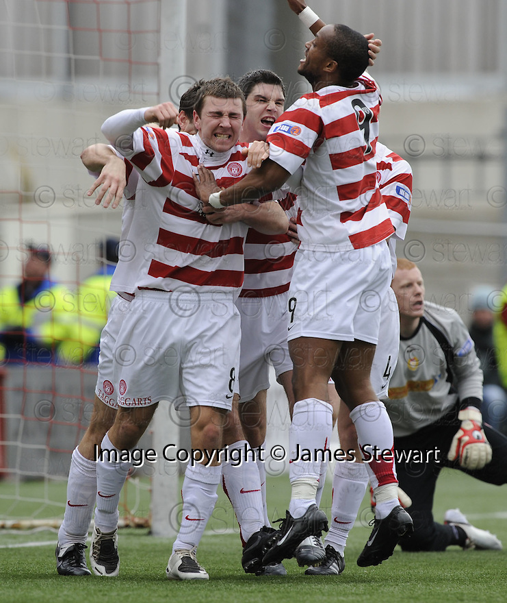 15/03/2008    Copyright Pic: James Stewart.File Name : sct_jspa03_hamilton_v_dundee.JAMES MCARTHUR CELEBRATES AFTER HE SCORES HAMILTON'S FIRST.James Stewart Photo Agency 19 Carronlea Drive, Falkirk. FK2 8DN      Vat Reg No. 607 6932 25.Studio      : +44 (0)1324 611191 .Mobile      : +44 (0)7721 416997.E-mail  :  jim@jspa.co.uk.If you require further information then contact Jim Stewart on any of the numbers above........