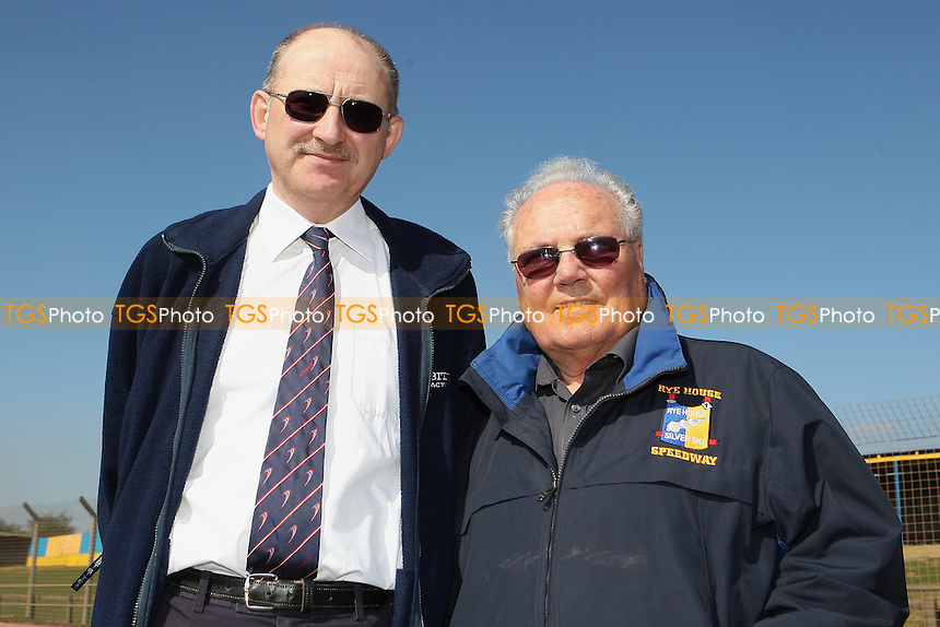 John Sampford (L) and Len Silver - Hackney Hawks Speedway Press & Practice Day at Arena Essex Raceway, Purfleet, Essex - 23/03/11 - MANDATORY CREDIT: Gavin Ellis/TGSPHOTO - Self billing applies where appropriate - Tel: 0845 094 6026