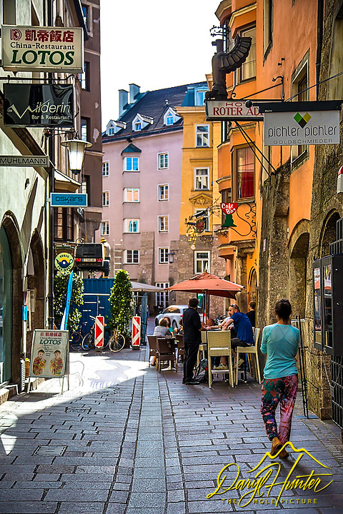 An Oldtown Innsbrook side street. The colors and textures of old Europe are amazing