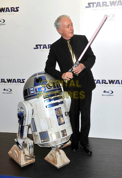 Anthony Daniels .Blu-ray release of Star Wars: The Complete Saga at BT Tower, London, England..September 15th 2011.full length black suit R2D2 costume light saber  .CAP/ROS.©Steve Ross/Capital Pictures
