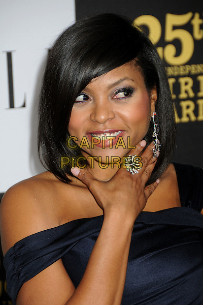 TARAJI P. HENSON.25th Annual Film Independent Spirit Awards - Arrivals held at the Nokia Event Deck at L.A. Live, Los Angeles, California, USA..March 5th, 2010.headshot portrait black dangling silver earrings hand ring diamond .CAP/ADM/BP.©Byron Purvis/AdMedia/Capital Pictures.