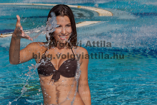 Fanni Krizsa winner of the prize for the most beautiful decoltage placed third during the Miss Bikini Hungary beauty contest held in Budapest, Hungary on August 29, 2010. ATTILA VOLGYI