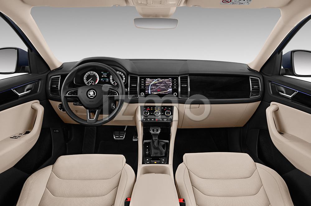 Stock photo of straight dashboard view of 2017 Skoda Kodiaq Style 5 Door SUV Dashboard