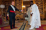 Presentation of credentials from Ambassadors to The King of Spain Juan Carlos I in the credentials room of the Royal Palace. In the picture Mr. Bala Garba-Jahumpa, Ambassador from Gambia Republic giving his credentials to to The King of Spain Juan Carlos I .June 21,2012. (ALTERPHOTOS/Ricky)