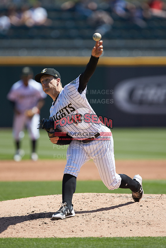 Charlotte Knights starting pitcher Matt Tomshaw (16) in action against the Gwinnett Stripers at BB&T BallPark on May 2, 2018 in Charlotte, North Carolina.  The Knights defeated the Stripers 6-5.  (Brian Westerholt/Four Seam Images)