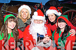 Niamh Joy Geraldine Hennessy, Orna Moriarty Eccles and Kelly Moriarty meet Santa when he arrived in Killorglin to turn on the Christmas lights on Sunday evening
