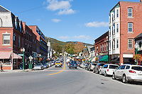 An autumn view up Main Street in Camden, Maine.