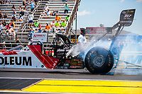 Jul 11, 2020; Clermont, Indiana, USA; NHRA top fuel driver T.J. Zizzo during qualifying for the E3 Spark Plugs Nationals at Lucas Oil Raceway. This is the first race back for NHRA since the start of the COVID-19 global pandemic. Mandatory Credit: Mark J. Rebilas-USA TODAY Sports