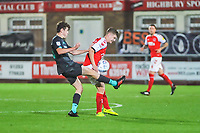 Liverpools midfielder Thomas Hill battles with Fleetwood Town's midfielder Barry Baggley (30) during the The Leasing.com Trophy match between Fleetwood Town and Liverpool U21 at Highbury Stadium, Fleetwood, England on 25 September 2019. Photo by Stephen Buckley / PRiME Media Images.