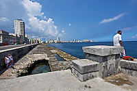 Havana, Cuba. Malecon, the famous waterfront..
