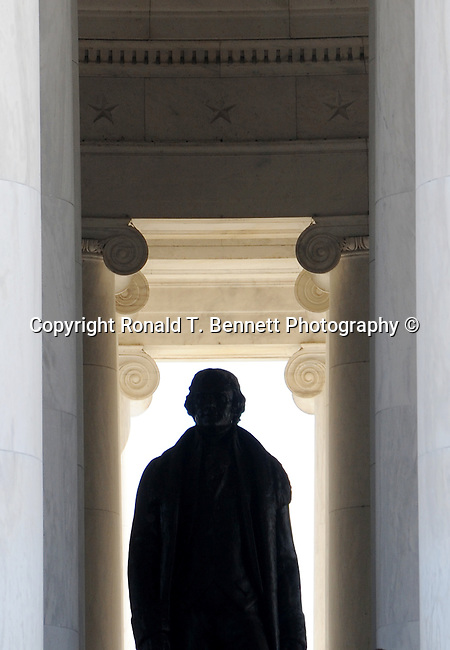 Thomas Jefferson Memorial pillars and statue of Thomas Jefferson Washington DC, The Thomas Jefferson Memorial, Jefferson memorial, Presidential Memorial in Washington DC, Tidal Basin Washington DC, Thomas Jefferson, American founding Father, Third President of the United States, neoclassical, Designed by John Russell Pope, Philadelphia, done, portico, Tidal, Basin, Potomac River, West Potomac Park, Washington monument, National Mall and Memorial Parks, List of America's Favorite Architecture, American Institute of Architects, U.S. National Register of Historical Places, U.S. National Memorial, Washington D.C., Ron Bennett Photography, Stock Photography, Fine Art Photography, Fine Art Photography by Ron Bennett, Fine Art, Fine Art photo, Art Photography,