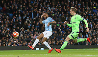 Manchester City's Raheem Sterling scores his side's fourth goal <br /> <br /> Photographer Rich Linley/CameraSport<br /> <br /> UEFA Champions League Round of 16 Second Leg - Manchester City v FC Schalke 04 - Tuesday 12th March 2019 - The Etihad - Manchester<br />  <br /> World Copyright © 2018 CameraSport. All rights reserved. 43 Linden Ave. Countesthorpe. Leicester. England. LE8 5PG - Tel: +44 (0) 116 277 4147 - admin@camerasport.com - www.camerasport.com