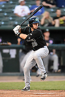 Kane County Cougars catcher Will Remillard (20) at bat during a game against the Peoria Chiefs on June 2, 2014 at Dozer Park in Peoria, Illinois.  Peoria defeated Kane County 5-3.  (Mike Janes/Four Seam Images)