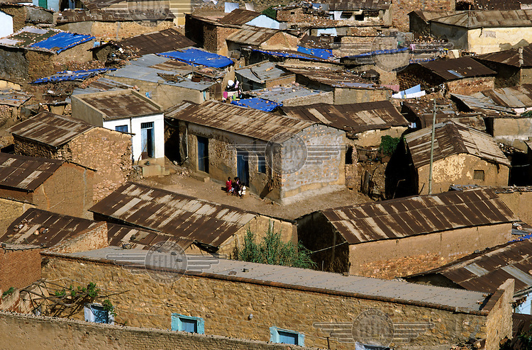 The rooftops of a shanty town on the outskirts of Asmara.