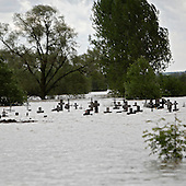 NOWY WIONCZENIN, POLAND, MAY 24, 2010:.Flooded cemetery..The latest chapter of disastrous floods in Poland has been opened yesterday, May 23, 2010, after Vistula river broke its banks and flooded over 25 villages causing evacualtion of most inhabitants..Photo by Piotr Malecki / Napo Images..NOWY WIONCZENIN, POLSKA, 24/05/2010:.Zatopiony cmantarz.  Najnowszy akt straszliwych tegorocznych powodzi zostal rozpoczety wczoraj gdy Wisla przerwala waly na wysokosci wsi Swiniary kolo Plocka..Fot: Piotr Malecki / Napo Images ..
