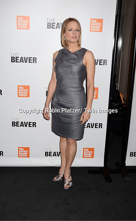 """Jodie Foster in Armani gray dress and shoes attending the special screening of """"The Beaver"""" on     May 4, 2011 at The Walter Reade Theatre in New York City. Jodie Foster is the director and the star of the movie."""