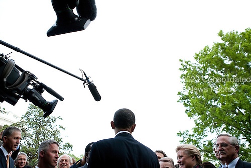 United States President Barack Obama at an Earth Day reception in the Rose Garden at the White House in Washington, D.C., U.S., on Thursday, April 22, 2010. .Credit: Brendan Hoffman - Pool via CNP