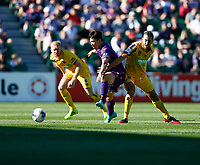 3rd November 2019; HBF Park, Perth, Western Australia, Australia; A League Football, Perth Glory versus Central Coast Mariners; Kim Soo-Beom of Perth competes for the ball with Ziggy Gordon and Giancarlo Gallifuoco of the Central Coast Mariners - Editorial Use