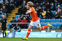Cameron McGeehan of Luton Town celebrates scoring the opening goal against Wycombe Wanderers during the Sky Bet League 2 match between Wycombe Wanderers and Luton Town at Adams Park, High Wycombe, England on 6 February 2016. Photo by David Horn.