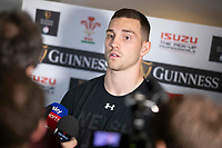 Hensol, Wales, 14th March 2019. George North of Wales faces the press after the Wales team announcement was made for the Guinness Six Nations rugby championships match against Ireland. Photo by Mark Hawkins.