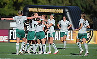 Lori Chalupny is congratulated by teammates after scoring the winning goal, .St. Louis Athletica over FC Gold Pride 1-0 at Buck Shaw Stadium, in Santa Clara, California, Sunday, July 5, 2009.