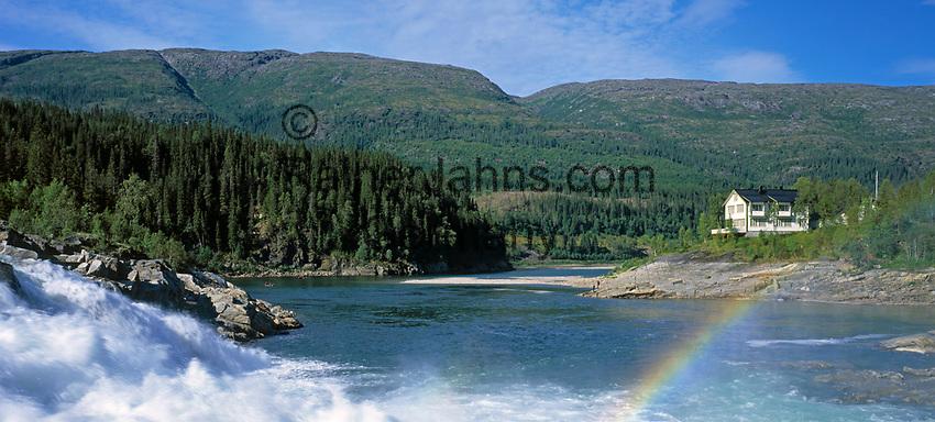 Norwegen, Nordland, Laksforsen - suedl. von Mosjoen - beliebter Angelplatz fuer Lachse | Norway, Nordland, Laksforsen - south of Mosjoen - famous for salmon fishing