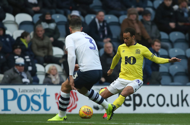 Blackburn Rovers' Elliott Bennett and Preston North End's Josh Earl<br /> <br /> Photographer Rachel Holborn/CameraSport<br /> <br /> The EFL Sky Bet Championship - Preston North End v Blackburn Rovers - Saturday 24th November 2018 - Deepdale Stadium - Preston<br /> <br /> World Copyright © 2018 CameraSport. All rights reserved. 43 Linden Ave. Countesthorpe. Leicester. England. LE8 5PG - Tel: +44 (0) 116 277 4147 - admin@camerasport.com - www.camerasport.com