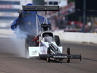 Aug 20, 2016; Brainerd, MN, USA; NHRA top fuel driver Terry Haddock during qualifying for the Lucas Oil Nationals at Brainerd International Raceway. Mandatory Credit: Mark J. Rebilas-USA TODAY Sports