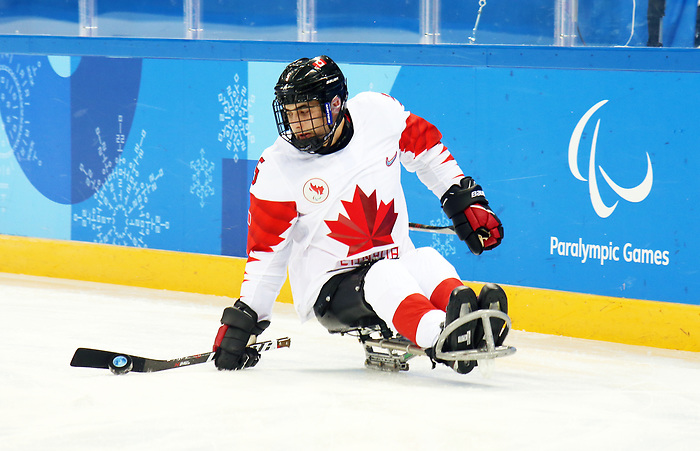 Pyeongchang, Korea, 11/3/2018-Rob Armstrong of Canada plays Italy in hockey during the 2018 Paralympic Games in PyeongChang. Photo Scott Grant/Canadian Paralympic Committee.