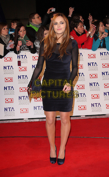HANNAH TOINTON.National Television Awards at the O2 Arena, London, England..January 26th 2011.NTA NTAs full length black blue dress sheer sleeve clutch bag platform shoes bustier .CAP/ROS.©Steve Ross/Capital Pictures