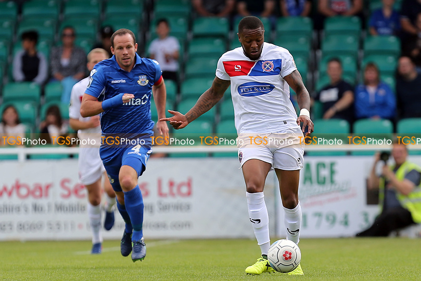 Sam Togwell of Eastleigh and Morgan Ferrier of Dagenham during Eastleigh vs Dagenham & Redbridge, Vanarama National League Football at the Silverlake Stadium on 12th August 2017