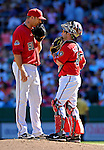23 September 2007: Washington Nationals pitcher Jon Rauch (left) discusses strategies with catcher Brian Schneider (right) during game action against the Philadelphia Phillies at Robert F. Kennedy Memorial Stadium in Washington, DC. The Nationals defeated the Phillies 5-3 in the historic last professional baseball game played at RFK Stadium.. .Mandatory Photo Credit: Ed Wolfstein Photo