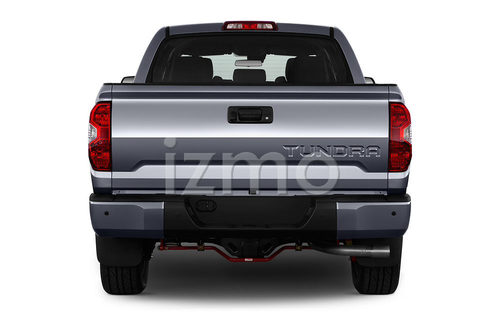 Straight rear view of a 2018 Toyota Tundra TRD Sport Crew Cab 4 Door Pick Up stock images