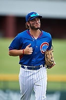AZL Cubs 2 left fielder Kevin Moreno (19) jogs off the field between innings of an Arizona League game against the AZL Reds on July 23, 2019 at Sloan Park in Mesa, Arizona. AZL Cubs 2 defeated the AZL Reds 5-3. (Zachary Lucy/Four Seam Images)