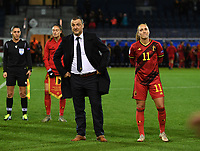 20191112 - LEUVEN , BELGIUM : Belgian head coach Ives Serneels and Belgian Janice Cayman pictured waiting to be honoured during the female soccer game between the Belgian Red Flames and Lithuania , the fourth womensoccer game for Belgium in the qualification for the European Championship round in group H for England 2021, Tuesday 12 th November 2019 at the King Power Stadion Den Dreef in Leuven , Belgium. PHOTO SPORTPIX.BE | DAVID CATRY