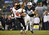 STATE COLLEGE, PA - NOVEMBER 24: Penn State DE Yetur Gross-Matos (99) pursues Maryland WR Jeshaun Jones (6) during the Maryland Terrapins vs. the Penn State Nittany Lions November 24, 2018 at Beaver Stadium in State College, PA. (Photo by Randy Litzinger/Icon Sportswire)