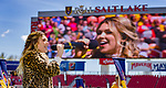 Rachel Platten sings the national anthem before the first half Saturday, April 14, 2018, during the National Woman Soccer League game at Rio Tiinto Stadium in Sandy, Utah. (© 2018 Douglas C. Pizac)