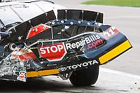 Feb. 27, 2010, Las Vegas, NV: Brian Scott stops for repairs on pit road at Las Vegas Motor Speedway