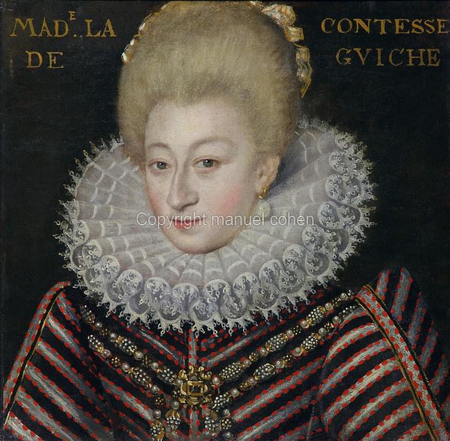 Portrait of Diane of Andoins, the Countess of Guiche, wearing a lace collar and embroidered dress, oil painting on canvas, c. 1625, by unknown artist, from the Gallery of portraits from the Chateau de Saint Germain-Beaupre, Creuse, now in the Musee des Beaux-Arts de la Ville de Blois, housed since 1869 on the first floor of the Louis XII wing of the Chateau Royal de Blois, built 13th - 17th century in Blois in the Loire Valley, Loir-et-Cher, Centre, France. The museum originally opened in 1850 in the Francois I wing, but moved here in 1869 after the rooms had been restored by Felix Duban in 1861-66. The chateau has 564 rooms and 75 staircases and is listed as a historic monument and UNESCO World Heritage Site. Picture by Manuel Cohen