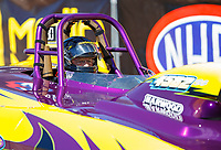 Apr 23, 2017; Baytown, TX, USA; NHRA super gas driver Roger Warren during the Springnationals at Royal Purple Raceway. Mandatory Credit: Mark J. Rebilas-USA TODAY Sports