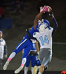 Columbia's Londyn Little (left) leaps as he tries to catch this pass as Jerseyville's Zeke Waltz breaks up the play. Jerseyville played at Columbia on Friday October 19, 2018.<br /> Tim Vizer/Special to STLhighschoolsports.com