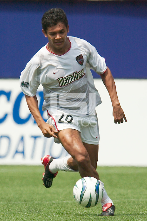 Amado Guevara of the MetroStars. The Kansas City Wizards and the NY/NJ MetroStars played to a 0-0 tie on 8/13/03 at Giant's Stadium, NJ..