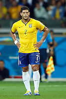 Hulk of Brazil looks dejected