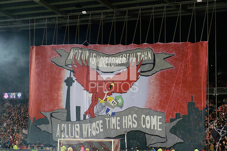 Toronto, ON, Canada - Saturday Dec. 10, 2016: Toronto FC Tifo during the MLS Cup finals at BMO Field. The Seattle Sounders FC defeated Toronto FC on penalty kicks after playing a scoreless game.