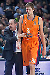 Valencia Basket coach Txus Vidorreta and  Tibor Pleiss injured during Turkish Airlines Euroleague match between Real Madrid and Valencia Basket at Wizink Center in Madrid, Spain. December 19, 2017. (ALTERPHOTOS/Borja B.Hojas)