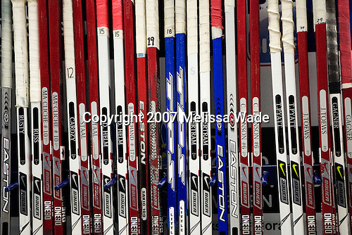 Team Canada's spare sticks wait for the gold medal game vs. Russia in the 2007 World Juniors Championship on January 5, 2007 at Ejendals Arena in Leksand, Sweden.