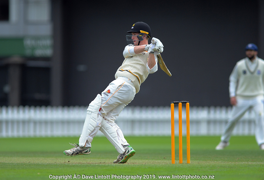 Wellington's Fraser Colson bats during day two of the Plunket Shield cricket match between the Wellington Firebirds and Auckland at Basin Reserve in Wellington, New Zealand on Saturday, 9 November 2019. Photo: Dave Lintott / lintottphoto.co.nz